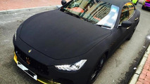 Maserati Ghibli with matte black suede wrap looks striking