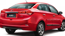 New Hyundai i20 rendered as a sedan