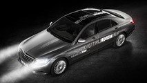 Mercedes reveals HD headlights that project signs on the road