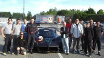 Marc Basseng, the driver, Horacio Pagani and Pagani's crew group photo with Pagani Zonda R