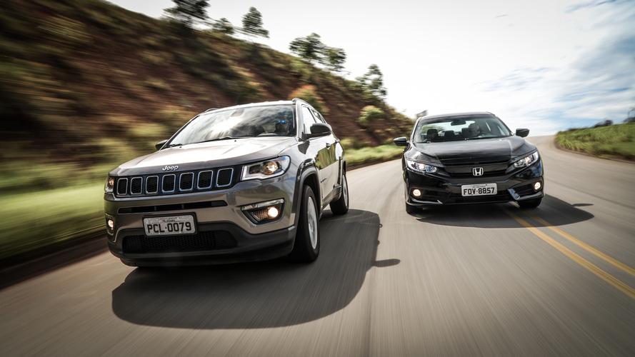 Comparativo Jeep Compass x Honda Civic - SUV encara sedã na disputa do momento