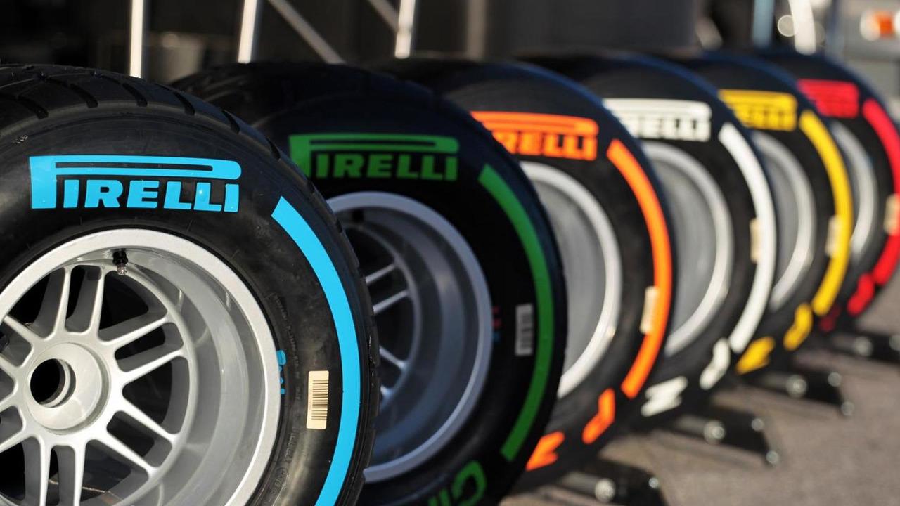 Pirelli tire line up 28.01.2014 Formula One Testing Jerez Spain