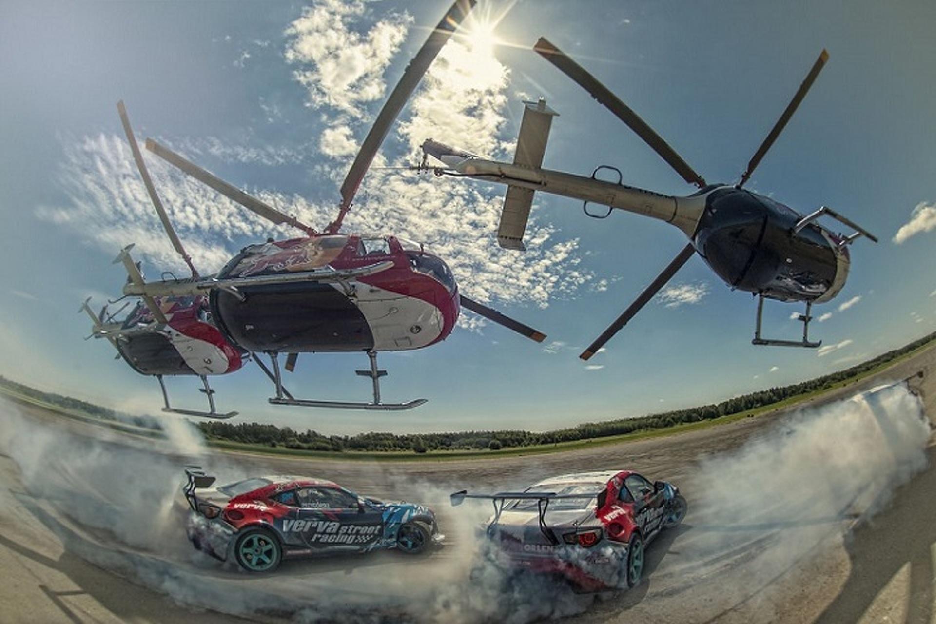 Watch as Daredevil Felix Baumgartner Drifts a Helicopter