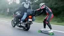 VIDEO: Daredevil Skateboarder goes 60mph On German Motorway