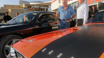 Jay Leno with his 2008 Challenger (black) and 1970 Challenger