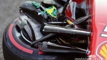 The damaged nosecone of race retiree Sebastian Vettel, Ferrari SF16-H