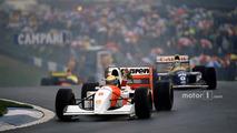 Ayrton Senna, McLaren MP4/8 Ford, celebrates 1st position