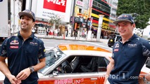 Daniel Ricciardo and  Max Verstappen, Red Bull Racing drive around Tokyo in a Bosozuko Car