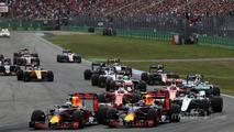 Daniel Ricciardo, Red Bull Racing RB12 and Max Verstappen, Red Bull Racing RB12 at the start of the race