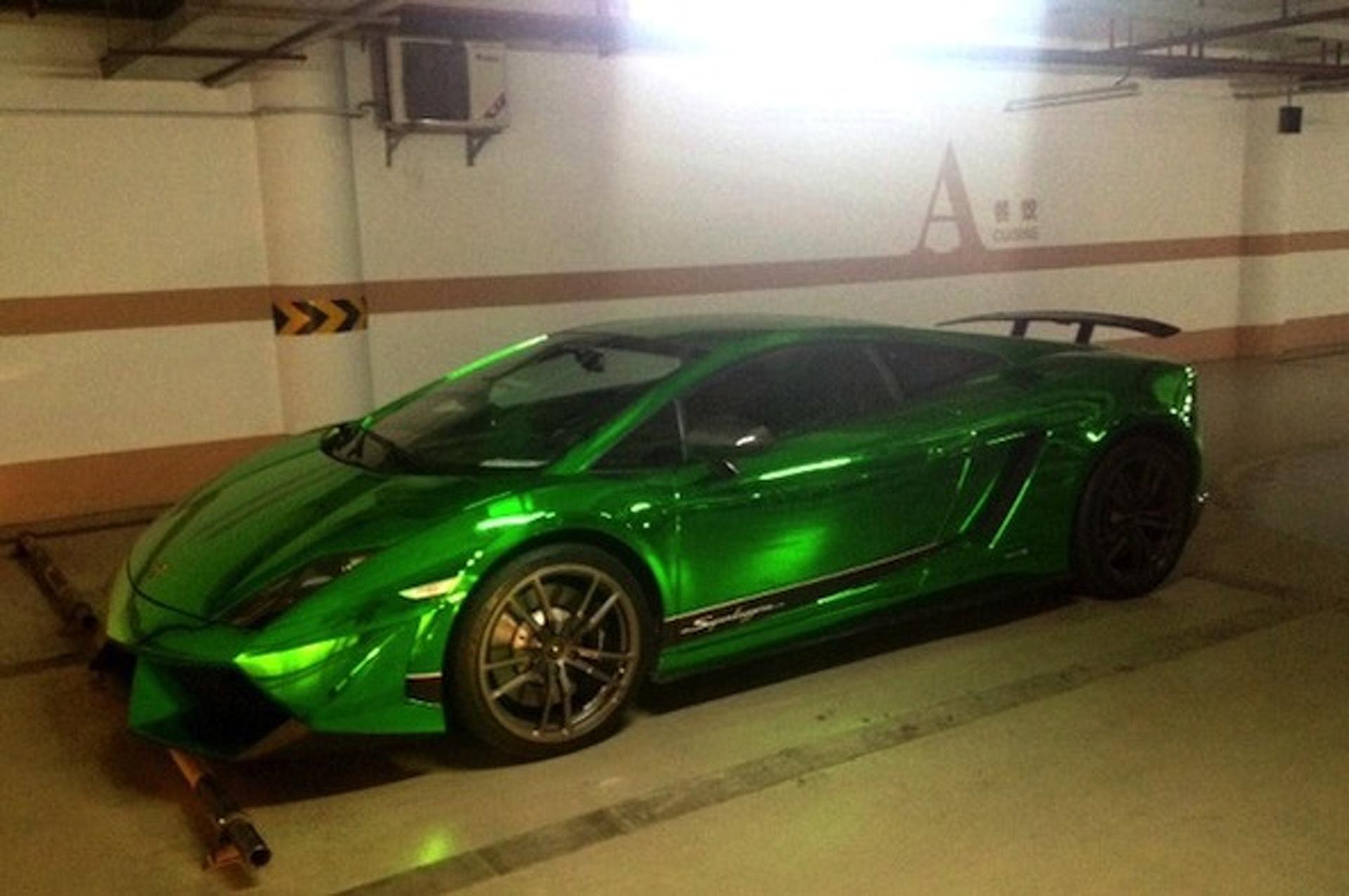 Chinese Lamborghini Gallardo Superleggera Wrapped in Chrome Green