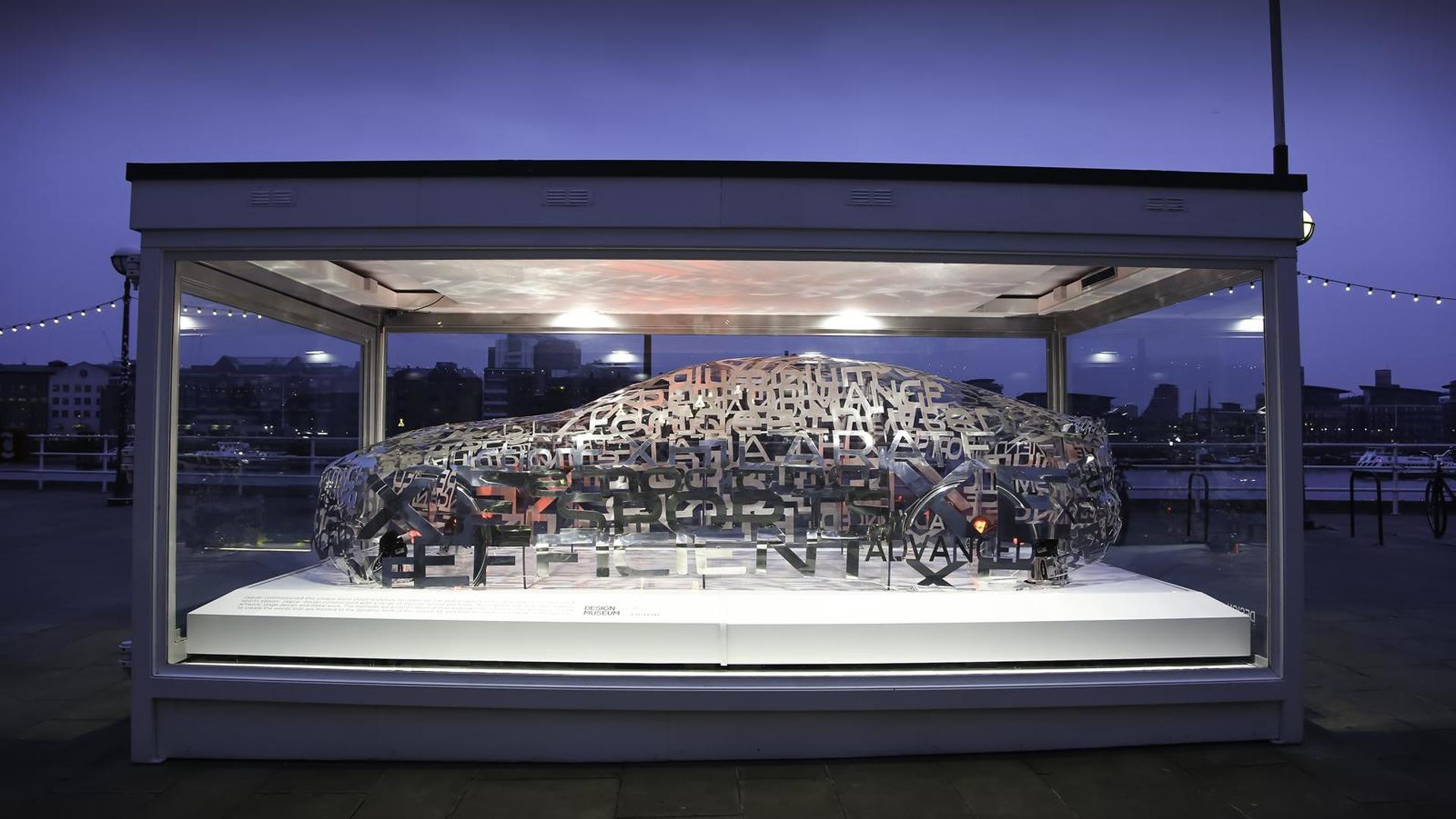 Jaguar XE word cloud sculpture showcased at London Design Museum
