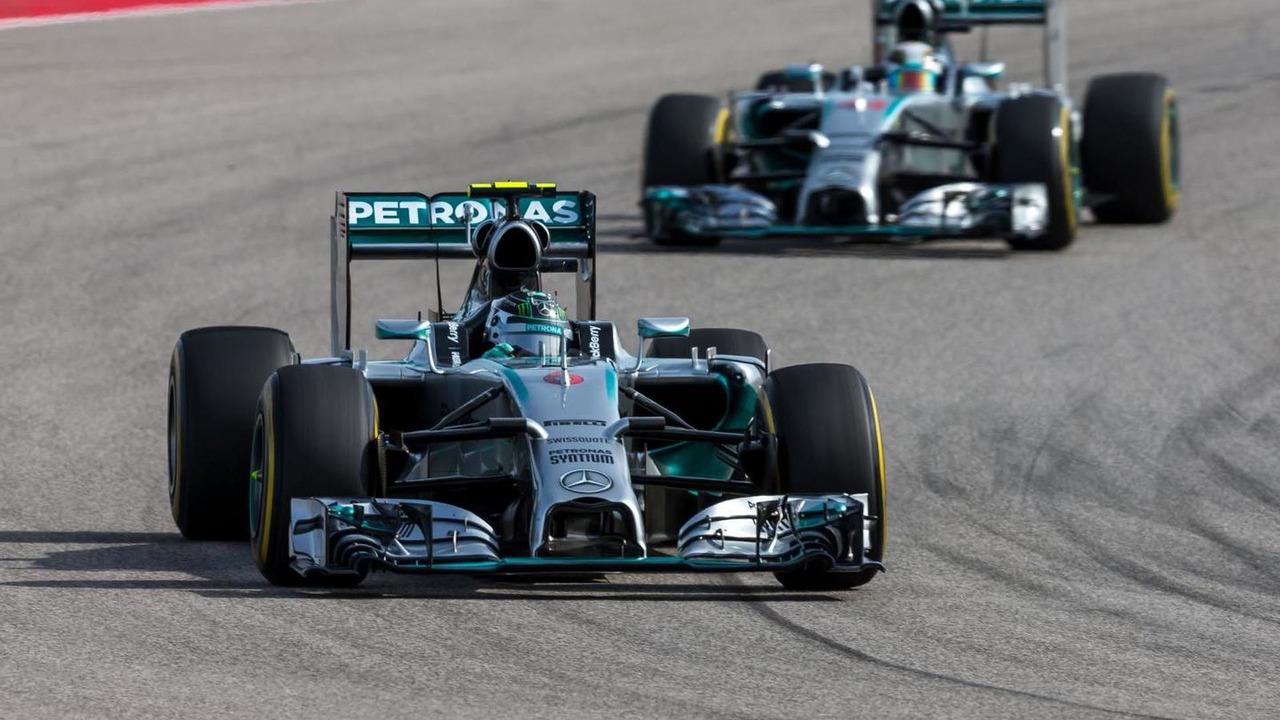 Nico Rosberg (GER) Mercedes leads team mate Lewis Hamilton (GBR), 02.11.2014, United States Grand Prix, Austin, Texas / XPB