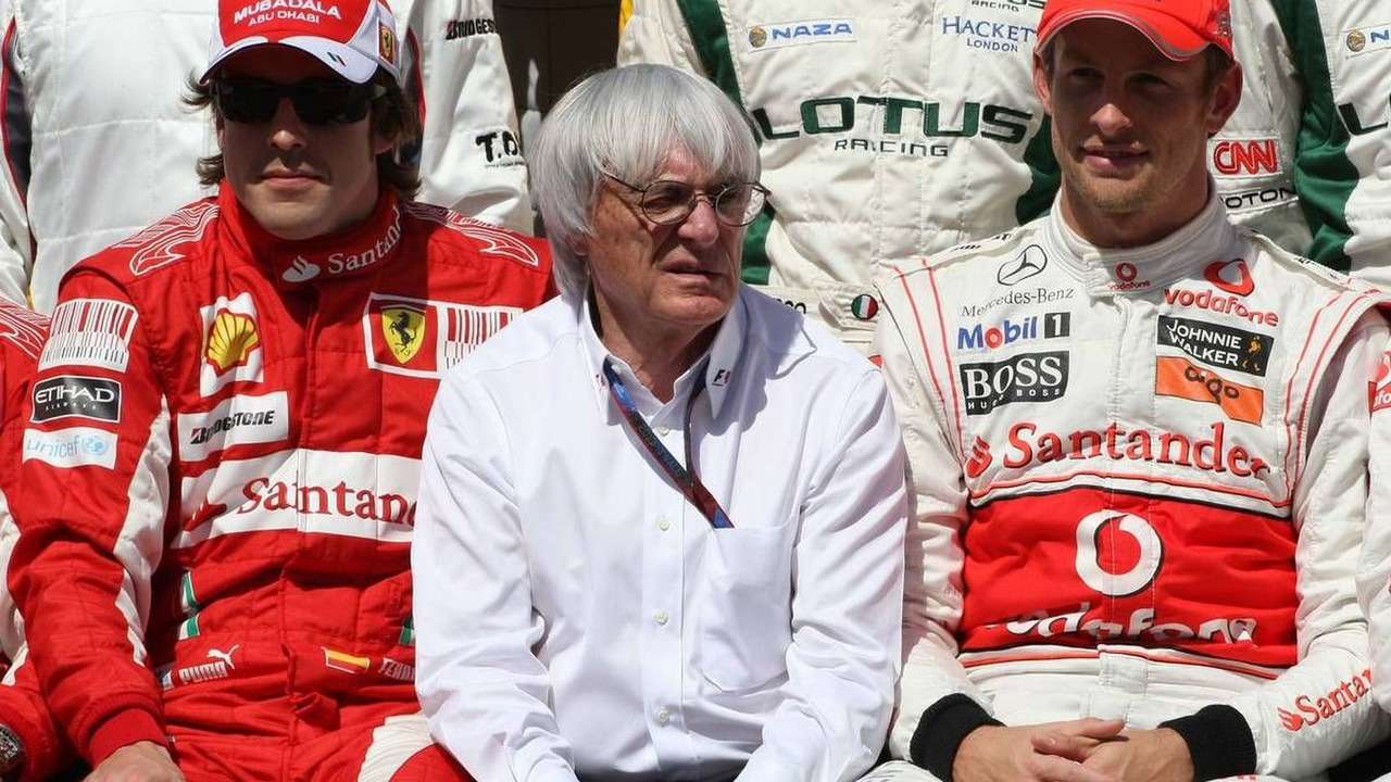 Fernando Alonso (ESP), Bernie Ecclestone (GBR), Jenson Button (GBR), Bahrain Grand Prix, 14.03.2010 Sakhir, Bahrain