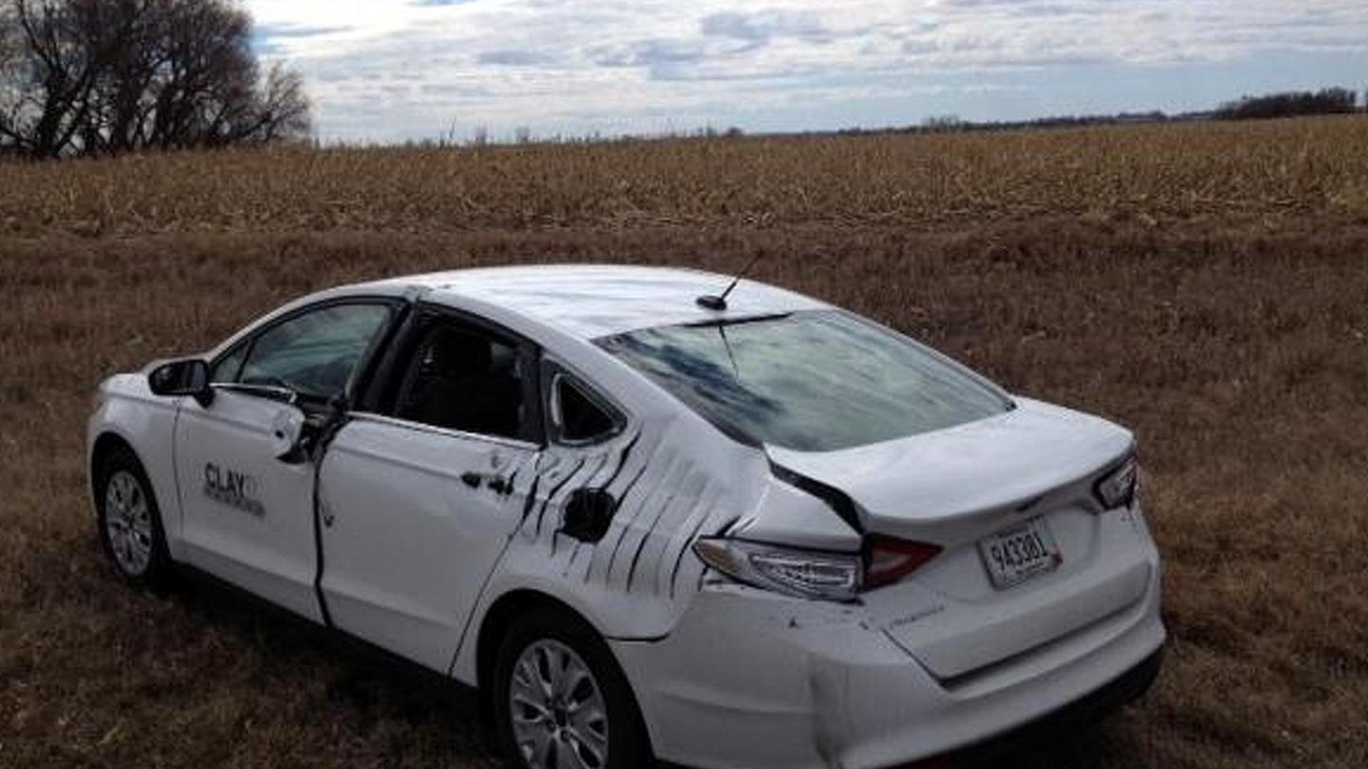 Small airplane hits Ford Fusion during emergency landing on highway