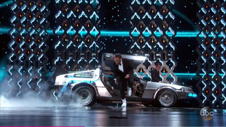 Back to the Future DeLorean appears on stage at Oscars