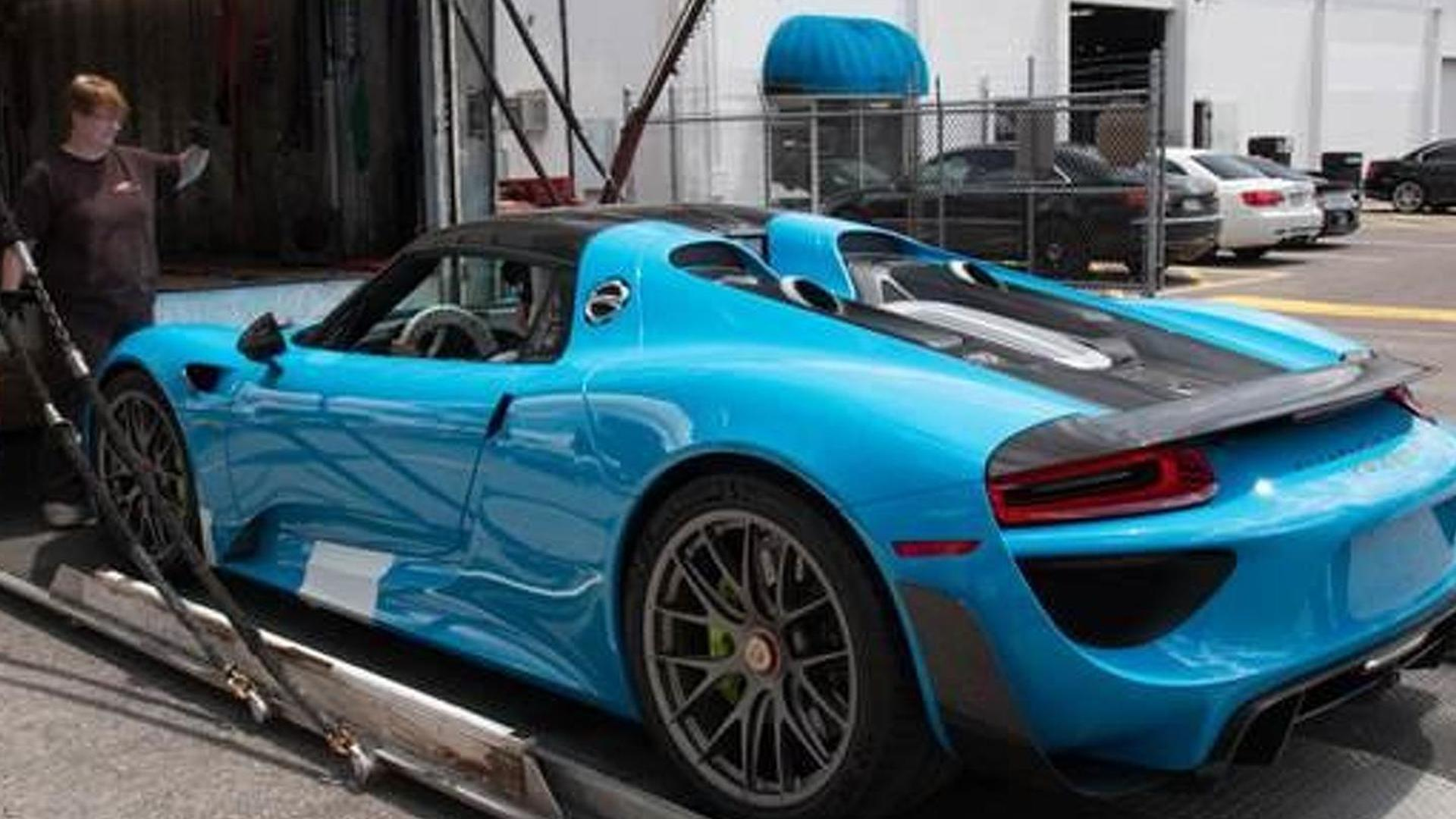 Porsche 918 Spyder with Riviera Blue paint and Weissach Package arrives in United States