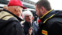 Niki Lauda (AUT) with Bernie Ecclestone (GBR) and Paul Hembery (GBR), 24.08.2014, Belgian Grand Prix, Spa Francorchamps / XPB