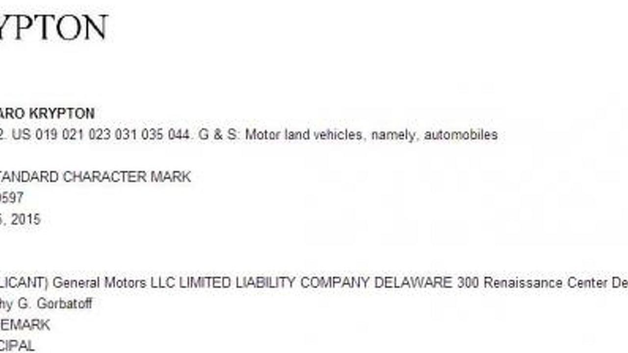 Chevrolet Camaro Krypton trademark filing