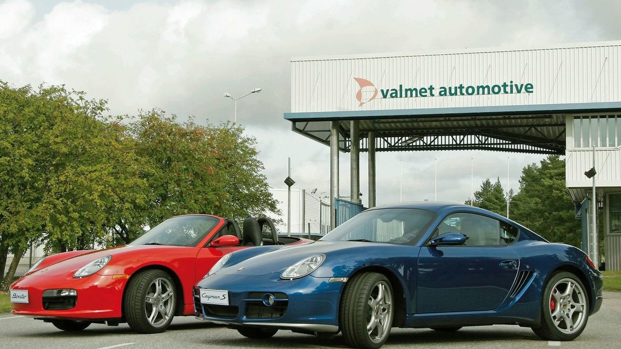 Porsche Boxster and Cayman S Outside Valmet's Production Facility in Uusikaupunki, Finland.