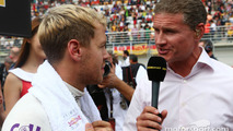 (L to R): Sebastian Vettel, Red Bull Racing with David Coulthard, Red Bull Racing and Scuderia Toro Advisor / BBC Television Commentator on the grid