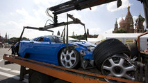 Bugatti EB 110 crash at Bavaria Moscow City Racing event 2009