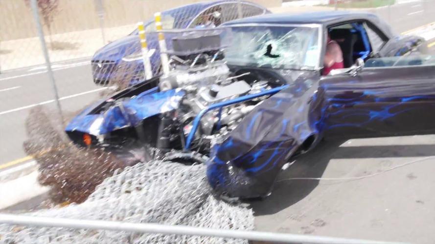 Chevrolet Camaro drag car crashes leaving Reno cars and coffee