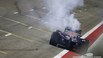 Daniel Ricciardo, Red Bull Racing RB11 stopped just after the finish line