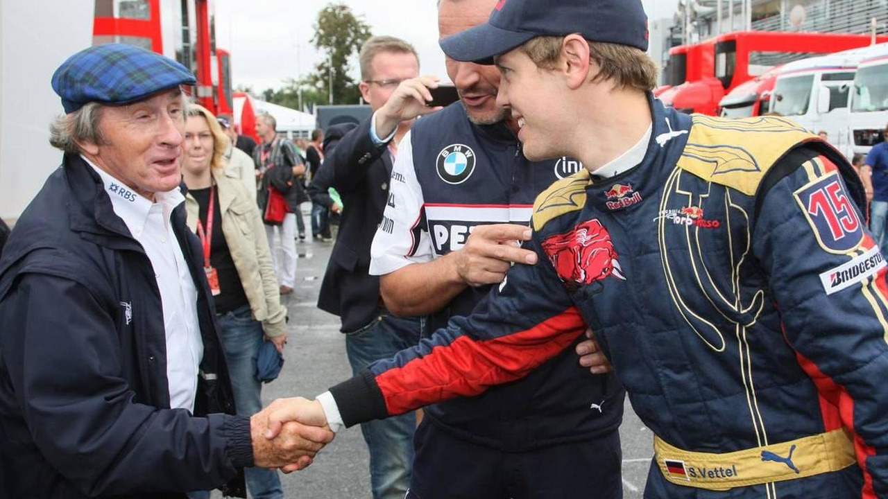 Pole Position, 1st, Sebastian Vettel (GER), Scuderia Toro Rosso with Sir Jackie Stewart (GBR), RBS Representitive and Ex F1 World Champion - Formula 1 World Championship, Rd 14, Italian Grand Prix, 13.09.2008 Monza, Italy