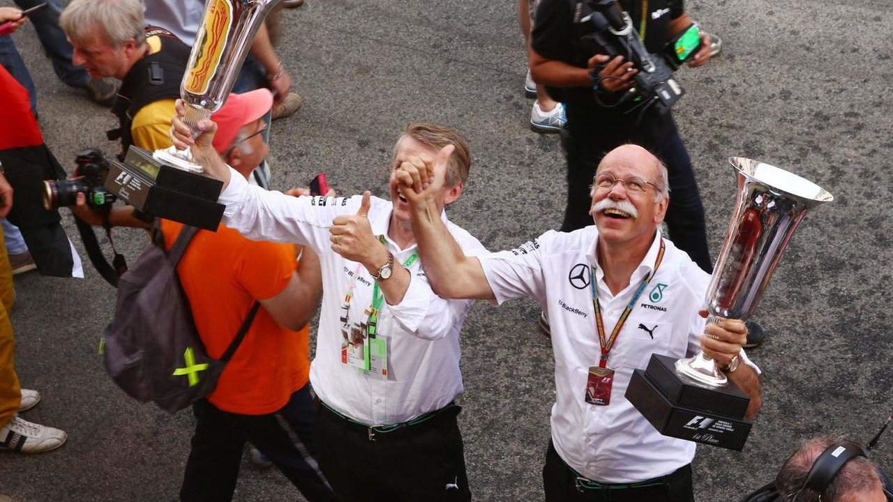 Dr. Dieter Zetsche Daimler AG CEO (Right) celebrates 1-2 finish for Mercedes AMG F1 11.05.2014 Spanish Grand Prix