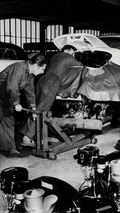 Building the engine into a Porsche 356 B (1960)