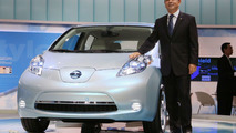 Nissan Leaf EV and Nissan CEO Carlos Ghosn live in Tokyo