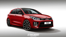 2017 Kia Rio rendered in spicy GT trim