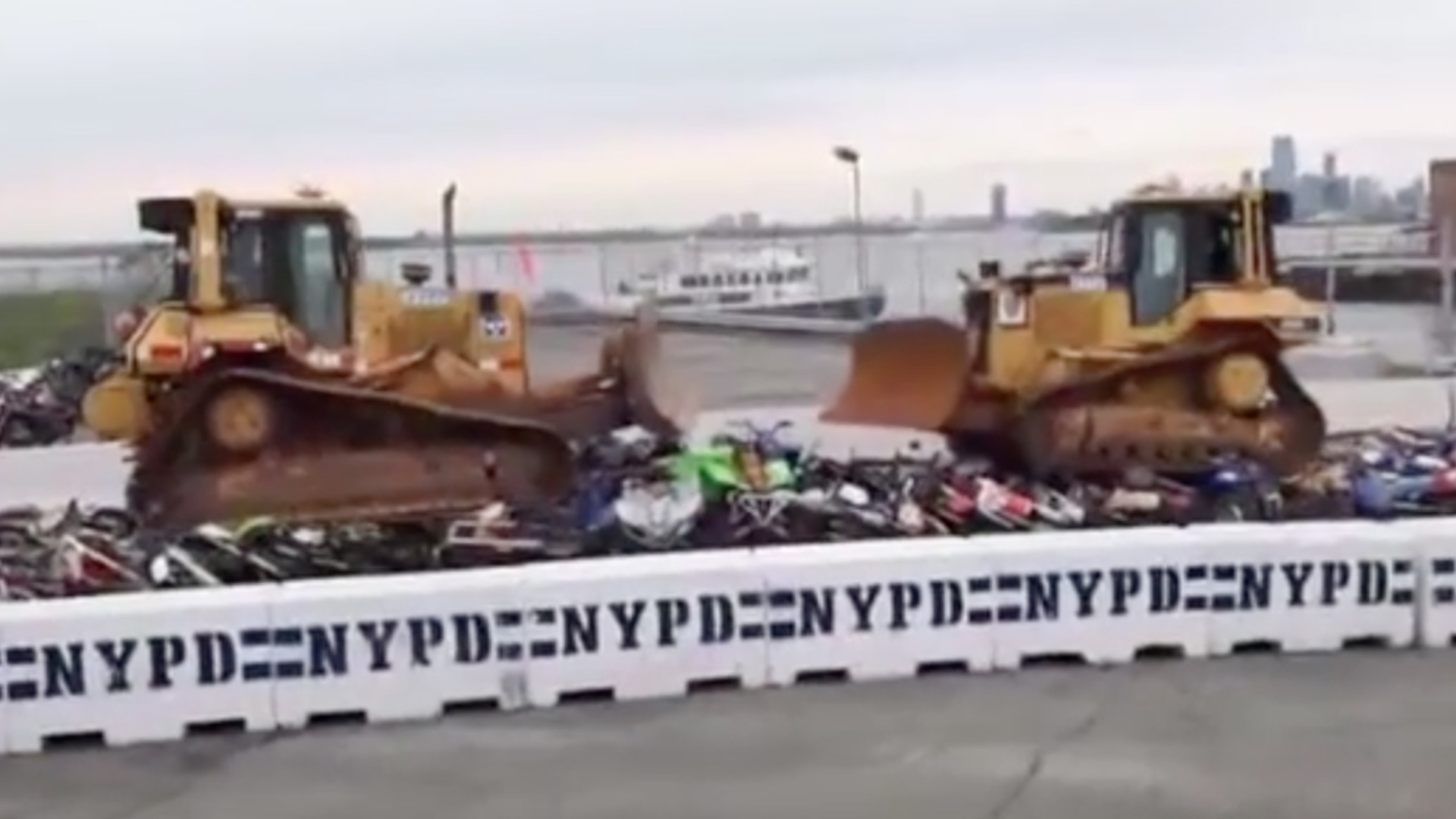 Try not to grimace as New York crushes dirt bikes and ATVs