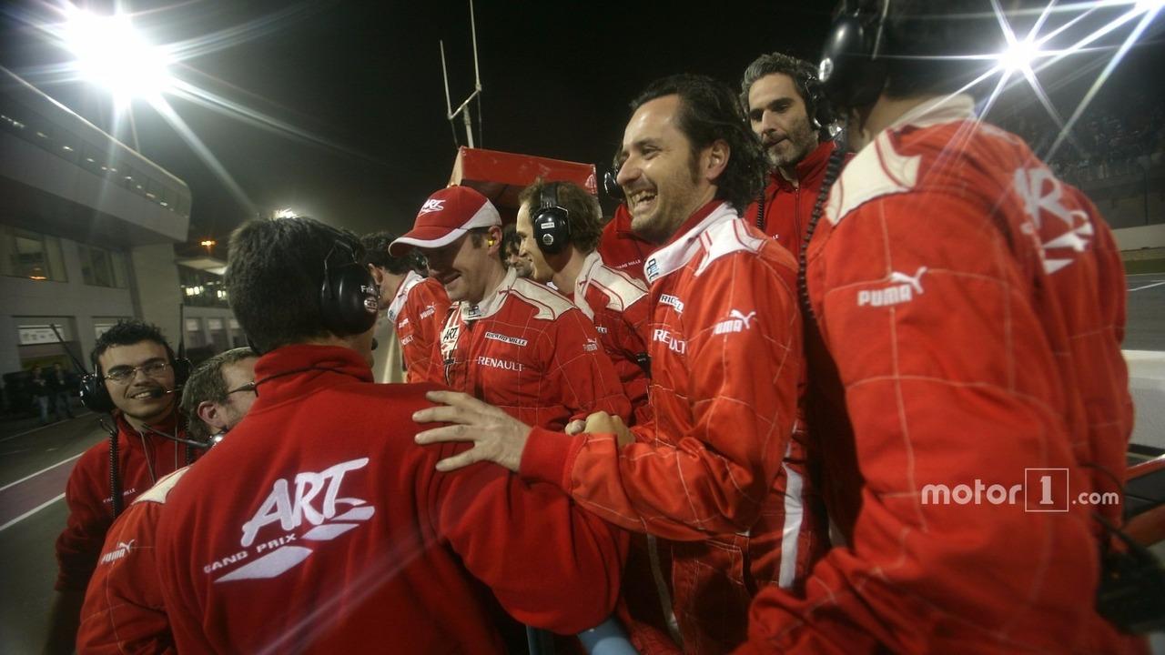 ART Grand Prix celebrate Nico Hulkenberg's victory