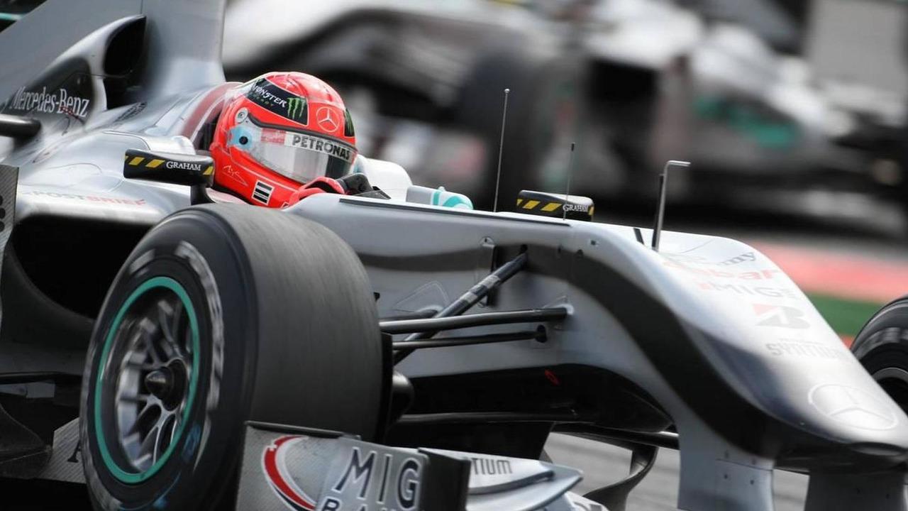 Michael Schumacher (GER), Mercedes GP and Nico Rosberg (GER), Mercedes GP - Formula 1 World Championship, Rd 13, Belgian Grand Prix, Belgium 29.08.2010