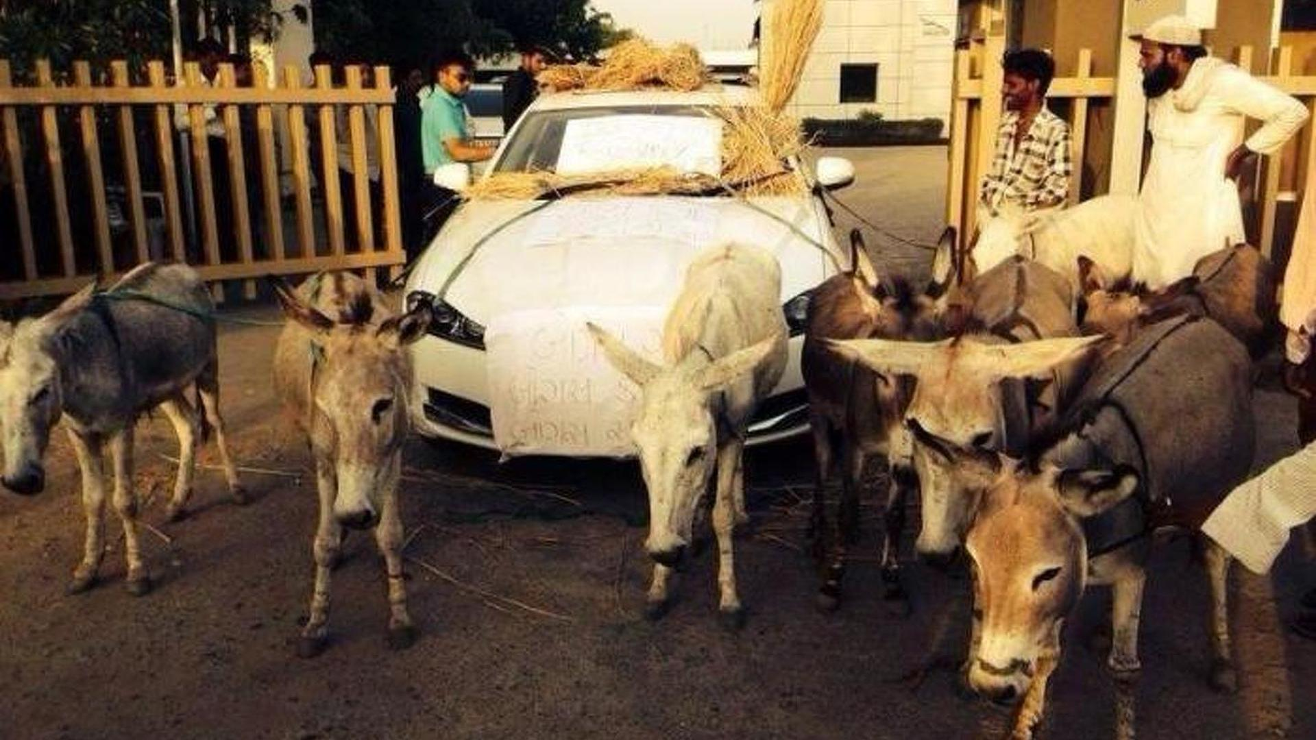 Unhappy Jaguar XF owner protests in India, says donkeys are better