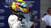 Lewis Hamilton (GBR) Mercedes AMG F1 celebrates his pole position
