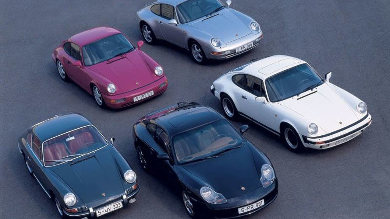 5 generations of Porsche 911