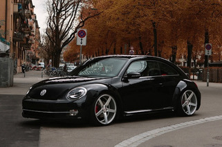 Slammed Volkswagen Beetle Riding Hot on Vossen Wheels