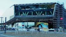 The new Porsche museum: A view of the prospective glass façade (August 2008)