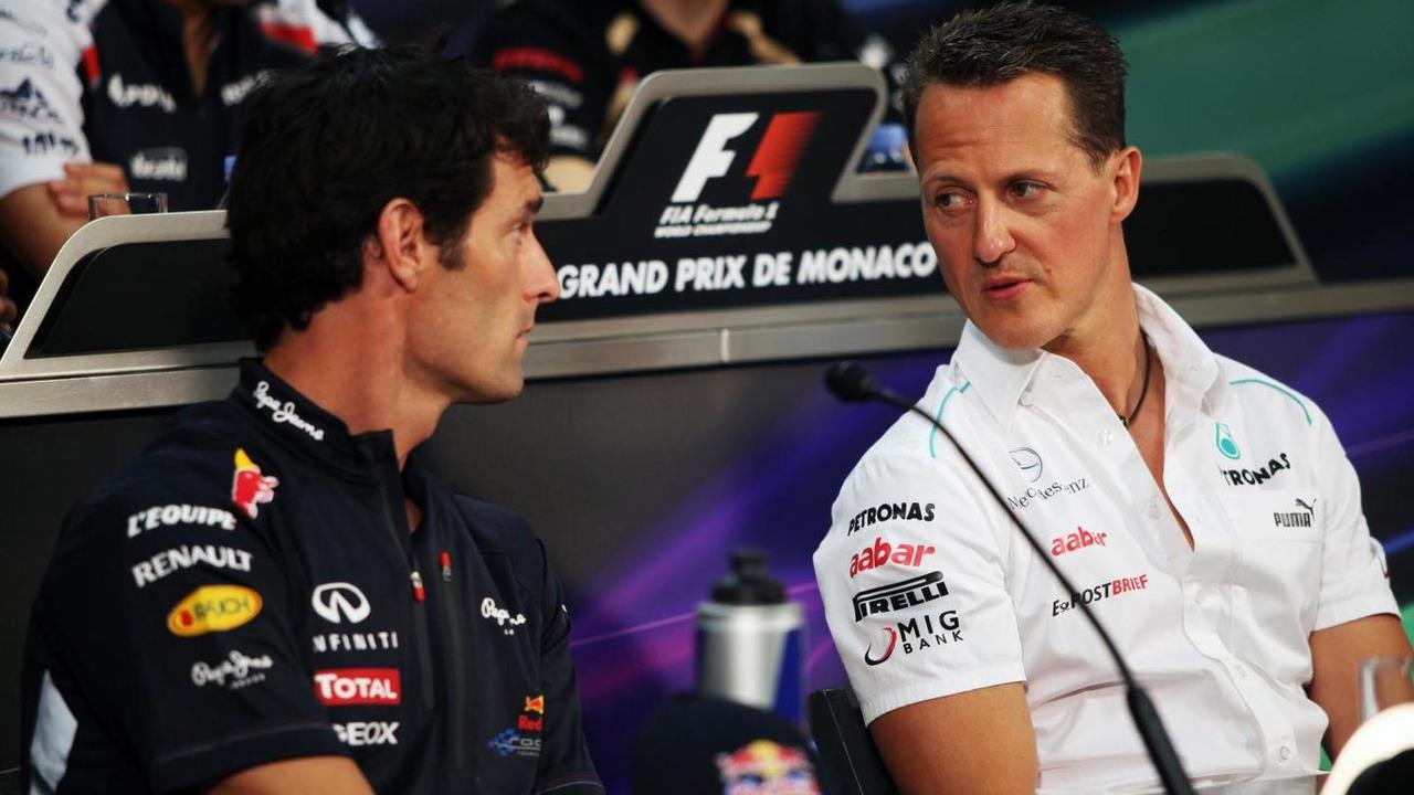 Mark Webber with Michael Schumacher 23.05.2012 Monaco Grand Prix