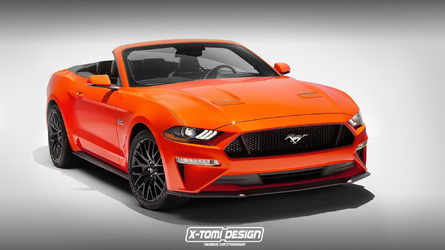 2018 Mustang convertible rendered with its new face