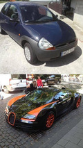Ford Ka and Bugatti Veyron mashup render is intriguing