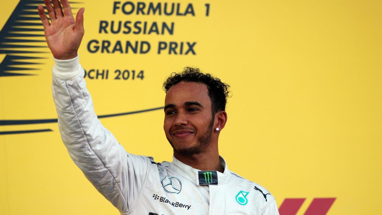 Race winner Lewis Hamilton (GBR) celebrates on the podium, 12.10.2014, Russian Grand Prix, Sochi Autodrom / XPB