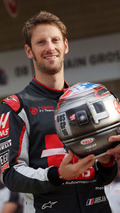 Romain Grosjean, Haas F1 Team, celebrating his 100th GP with a special helmet livery, at a team photograph