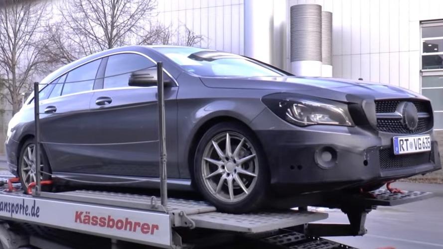 Mercedes CLA Shooting Brake facelift spied on a trailer [video]