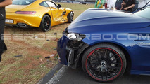 Mercedes-AMG C63 S hits AMG GT S during show organized for potential buyers [video]