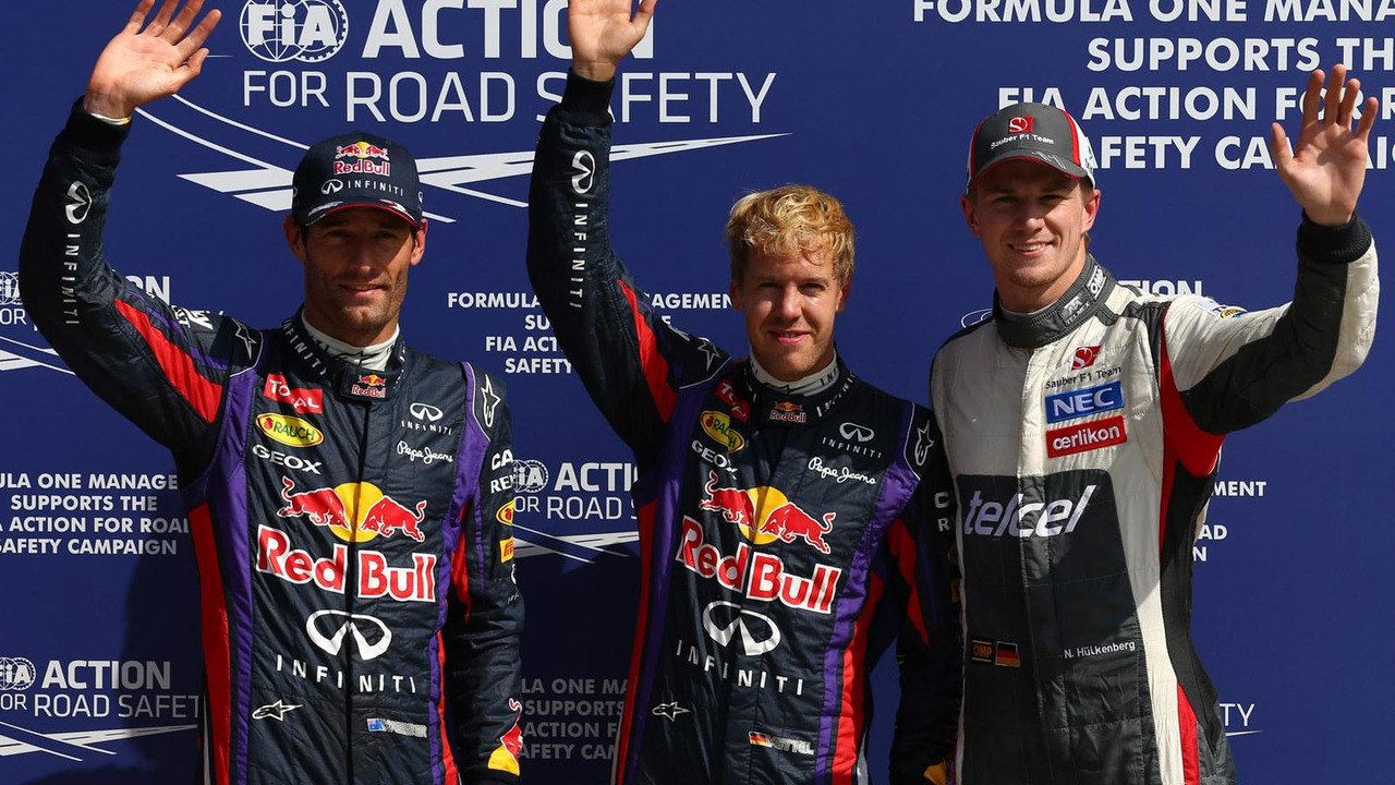 Pole position for Sebastian Vettel (GER) Red Bull Racing, 2nd for Mark Webber (AUS) Red Bull Racing and 3rd for Nico Hulkenberg (GER) Sauber 07.09.2013