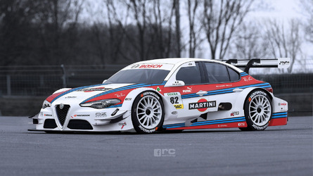 Alfa Romeo Giulia imagined as classic DTM car in Martini Racing look