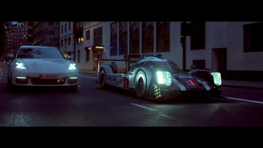 Le Mans-winning Porsche 919 and Panamera 4 E-Hybrid cruise London